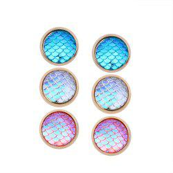 Geometric Fish Scales Resin Simple Street Three Pair of Earrings -