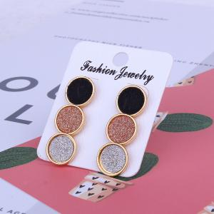 Multicolor Round Pu Three Pair Earrings -