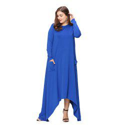 Women's Plus Size Solid Color Irregular Hem Long Sleeve Maxi Dress -