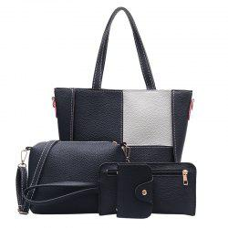 Four Pieces Contrast Color Mosaic Handbag Shoulder Messenger Bag -