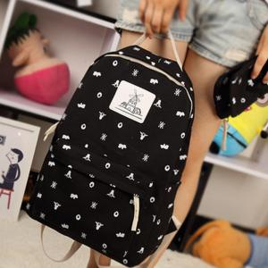 Girl's Backpack 4 Pcs Animal Pattern Canvas Kids Schoolbag -