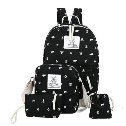 Hot Girl's Backpack 4 Pcs Animal Pattern Canvas Kids Schoolbag