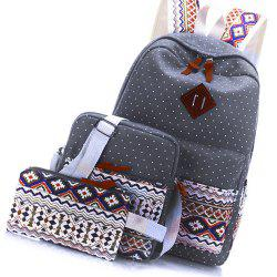 Backpack Dots Canvas 3 Pcs Kids Schoolbag -
