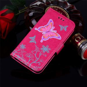 for Samsung Samsung Galaxy S7 Butterfly Pattern PU Leather Wallet Flip Protective Case Cover with Card Slots -