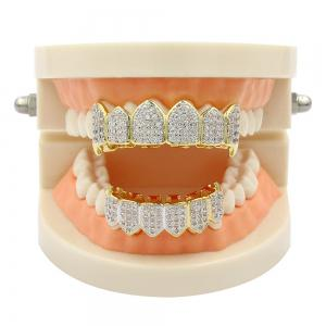 18K Gold Silver Plated Micro Pave CZ Stone Vampire Fangs Teeth Grillz -