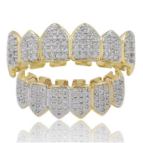 Sale 18K Gold Silver Plated Micro Pave CZ Stone Vampire Fangs Teeth Grillz