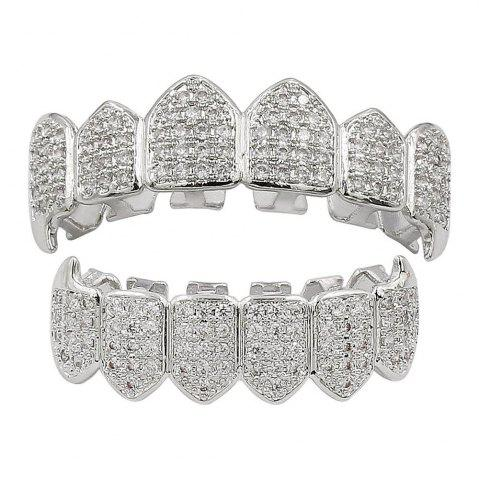 Trendy 18K Gold Silver Plated Micro Pave CZ Stone Vampire Fangs Teeth Grillz