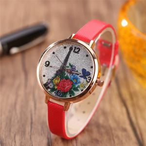 Khorasan The Eiffel Tower Pattern Leisure Band Quartz Watch -