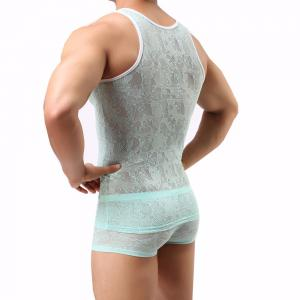 Male Lace  Sexy Semitransparent Vest -