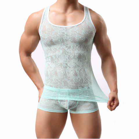 Trendy Male Lace  Sexy Semitransparent Vest