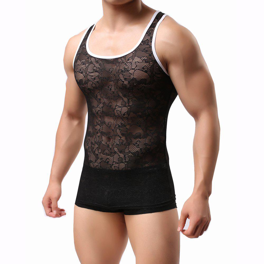 Best Male Lace  Sexy Semitransparent Vest