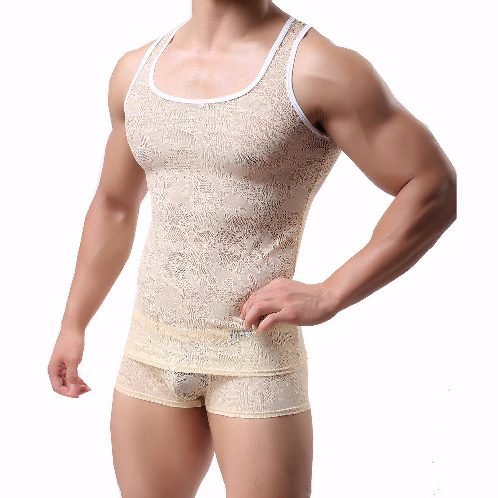 Outfits Male Lace  Sexy Semitransparent Vest