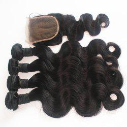 Body Wave 100 Percent Brazilian Human Virgin Hair Weave 3pcs with One Piece Lace Closure -