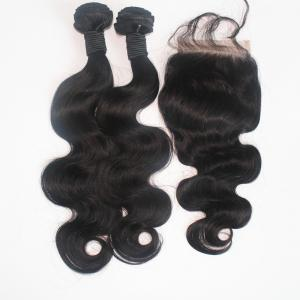 Body Wave Brazilian Human Virgin Hair Weave 2pcs with One Piece Lace Closure -
