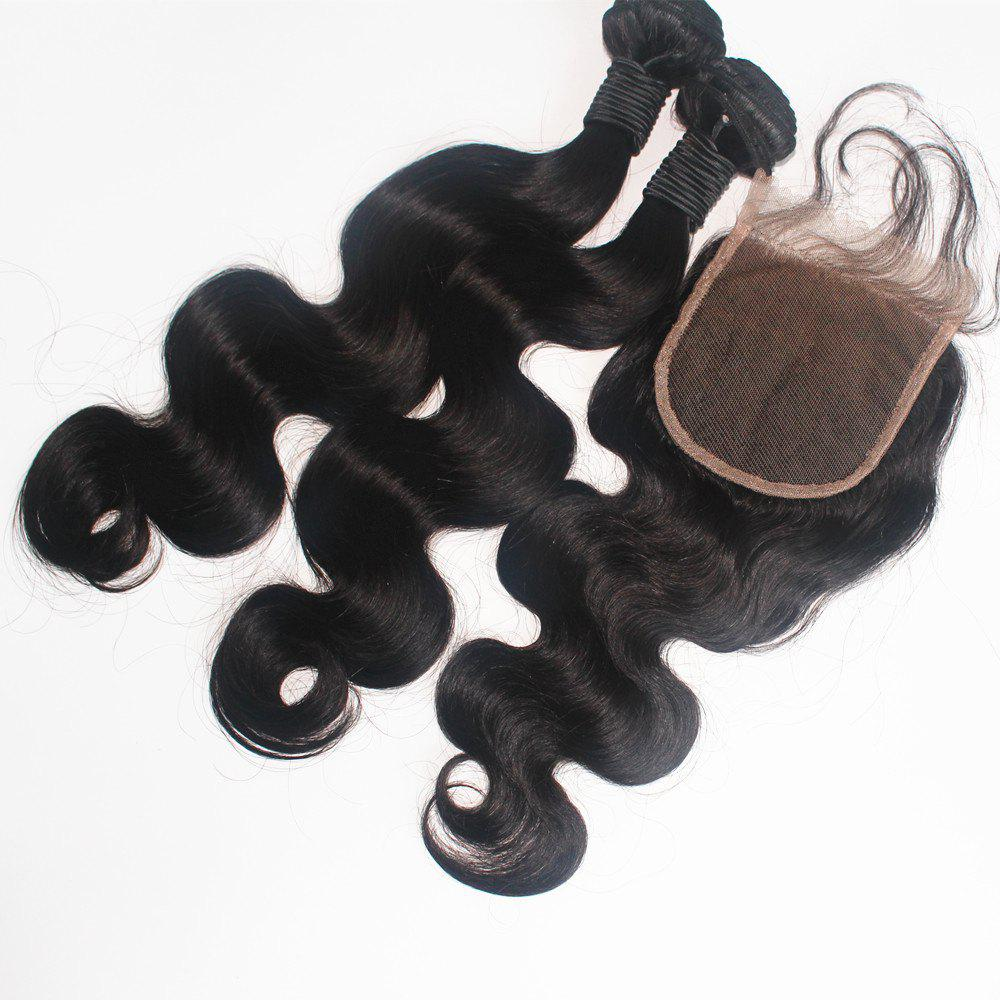 New Body Wave Brazilian Human Virgin Hair Weave 2pcs with One Piece Lace Closure