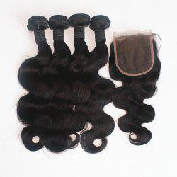 Body Wave Brazilian Human Virgin Hair Weave 4pcs with One Piece Lace Closure -