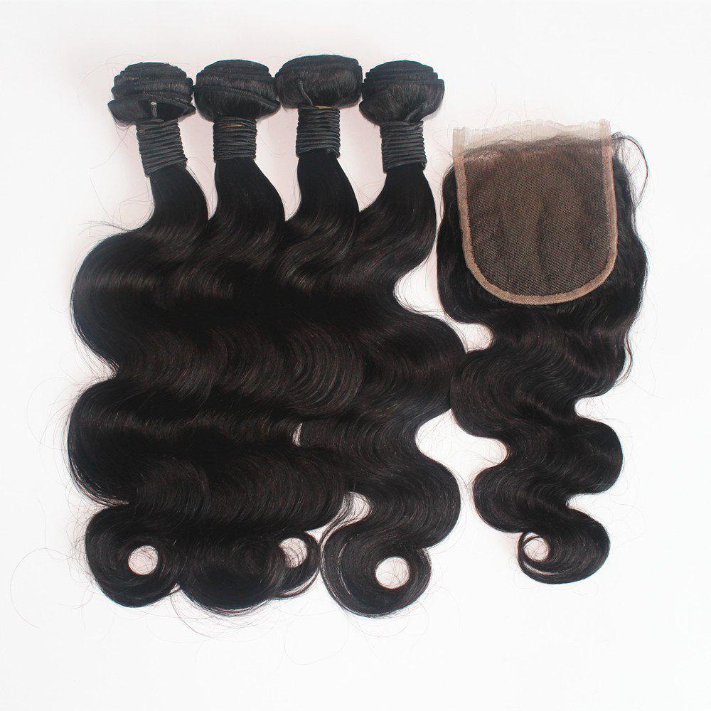 Fancy Body Wave Brazilian Human Virgin Hair Weave 4pcs with One Piece Lace Closure