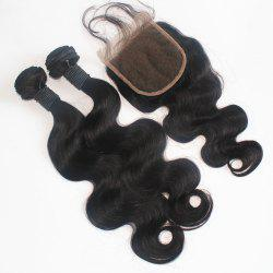 Body Wave Peruvian Human Virgin Hair Weave 200g with One Piece 4 inch x 4 inch Lace Closure -