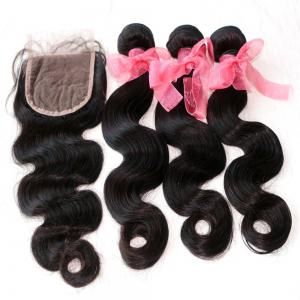Body Wave Indian Human Virgin Hair Weave 4pcs with One Piece Lace Closure -