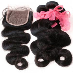 Body Wave 100 Percent Indian Human Virgin Hair Weave 3pcs with One Piece Lace Closure -