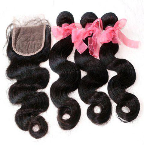 Outfit Body Wave 100 Percent Indian Human Virgin Hair Weave 3pcs with One Piece Lace Closure