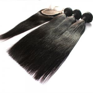 Straight 100 Percent Indian Human Virgin Hair Weave 3pcs with 1pc Lace Closure -