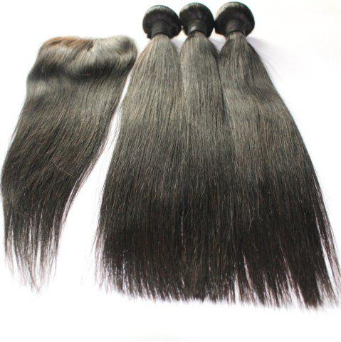 Trendy Straight 100 Percent Indian Human Virgin Hair Weave 3pcs with 1pc Lace Closure