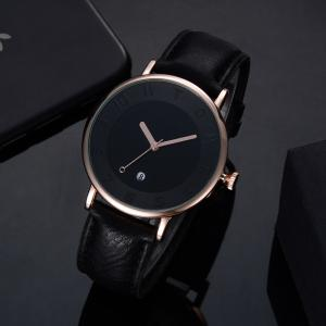 T014 Men Round Leather Band Wrist Watch with Box -