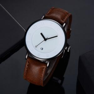 TOMI T014 Men Round Leather Band Wrist Watch with Box -