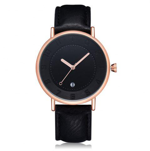 Store T014 Men Round Leather Band Wrist Watch with Box
