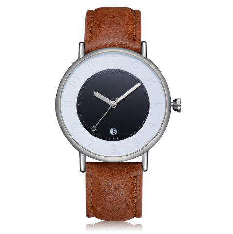 Outfits TOMI T014 Men Round Leather Band Wrist Watch with Box