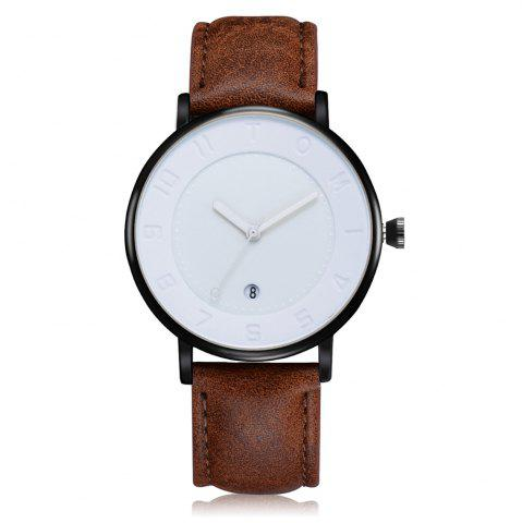 Best TOMI T014 Men Round Leather Band Wrist Watch with Box