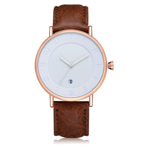 Unique TOMI T014 Men Round Leather Band Wrist Watch with Box