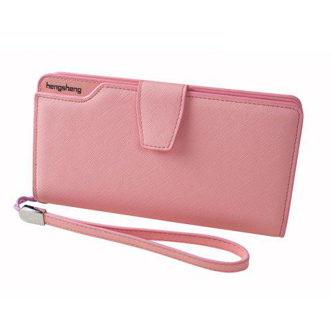 New Handbag Wallet New Cross-Shaped Long Candy-Colored Zipper Purse Lady with Button