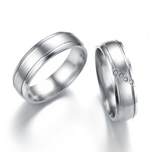 Fashion Simple Couple Diamond Stainless Steel Ring -