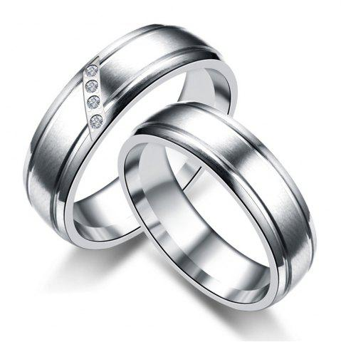 Online Fashion Simple Couple Diamond Stainless Steel Ring