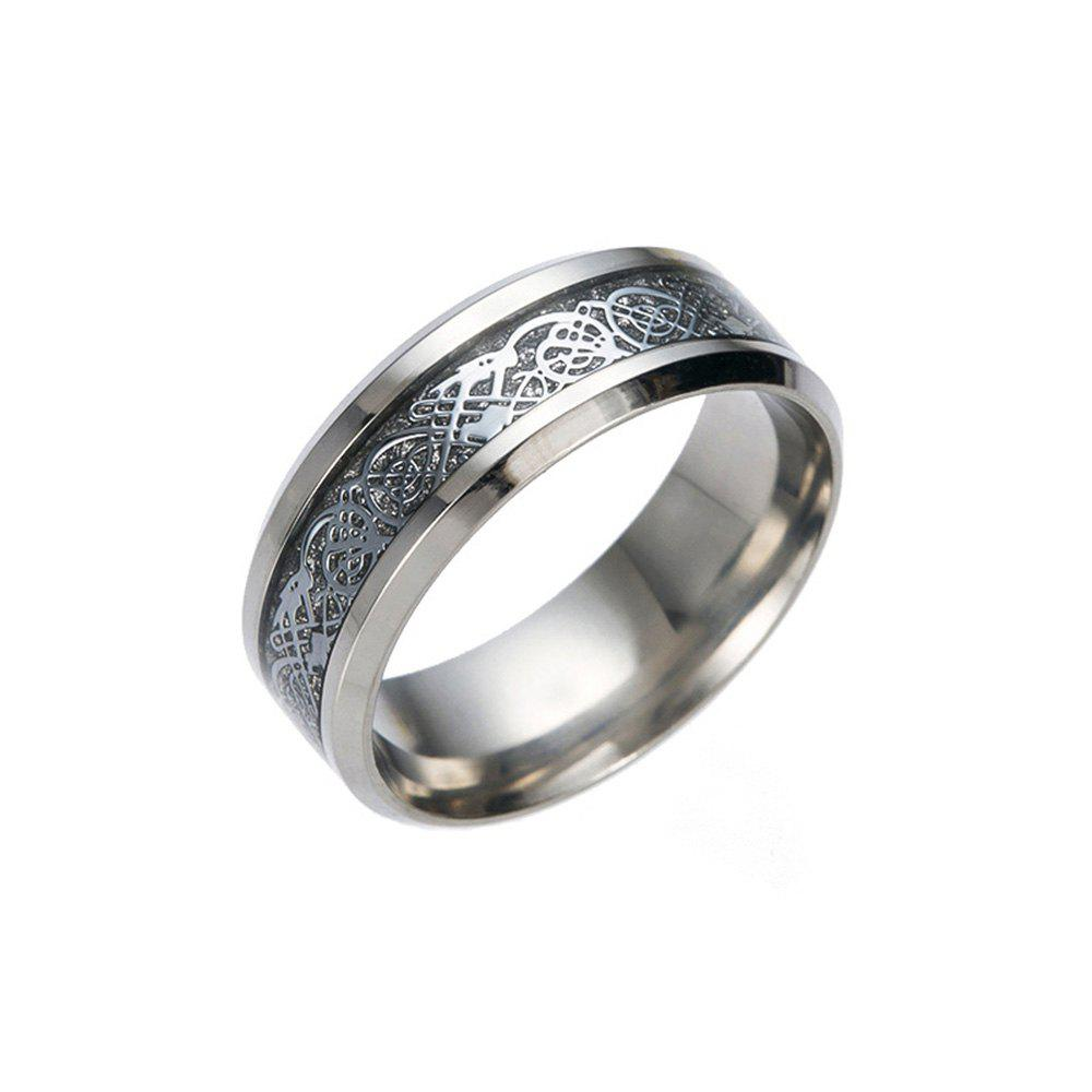 Trendy Hot Sale Chinese Dragon Pattern Titanium Rings