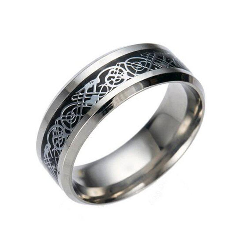 Online Hot Sale Chinese Dragon Pattern Titanium Rings