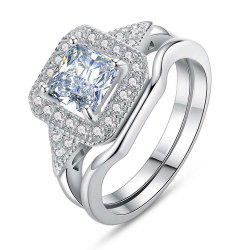 Jewelry 925 Sterling Silver Sapphire Wedding Engagement Ring -