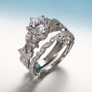 London Blue Topaz 925 Solid Sterling Silver Art Deco Filigree Ring -