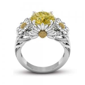 925 Sterling Silver Round Cut White  Topaz Champagne Women Weddiing Engagement Jewelry Ring -