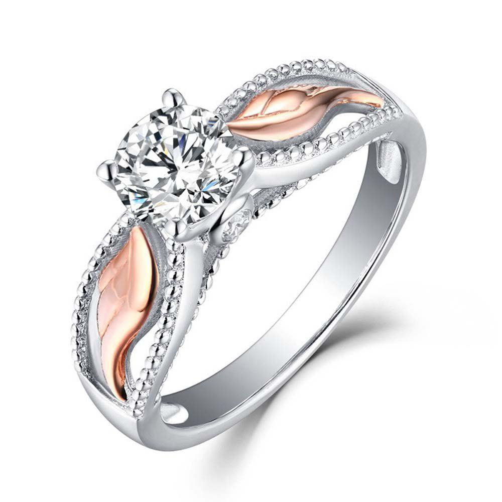 Outfit Women Fashion Two Tone 925 Sterling Silver & Rose Gold Filed White Sapphire Wedding