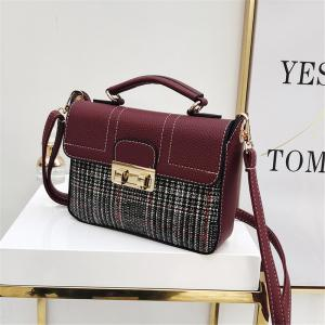 Plaid Female Messenger Fashion Shoulder Bag Lock Portable Small Square Package -