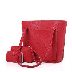 Four-Piece Package Grain Mobile Fashion Shoulder Messenger Female Bag -