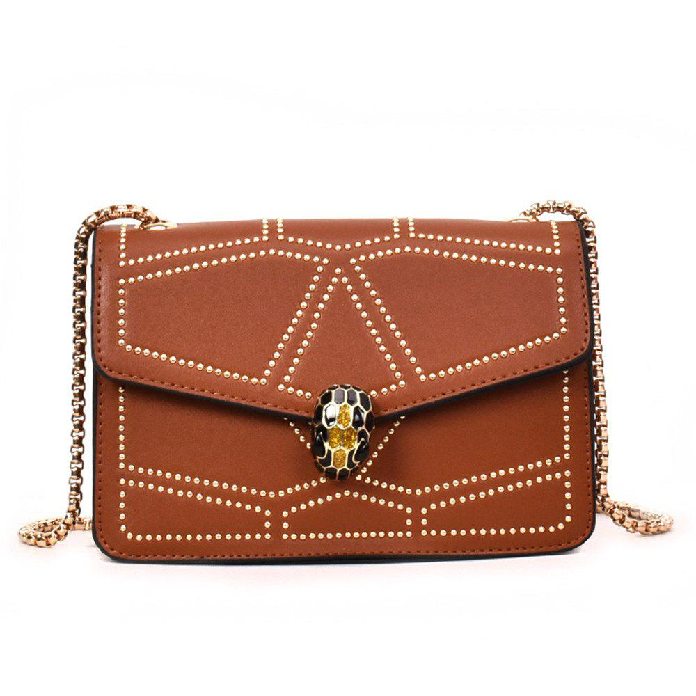 Trendy Snake Head Chain Fashion Package Buckle Small Bag Shoulder Diagonal Package