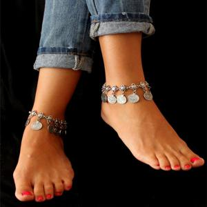 Metallic Gold Coin Gold Coin Chain Anklet -