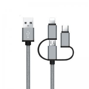 High Speed Nylon Braided Fast Charging 3 in 1 USB Charger Cable for iPhone Android Type C Smartphones -