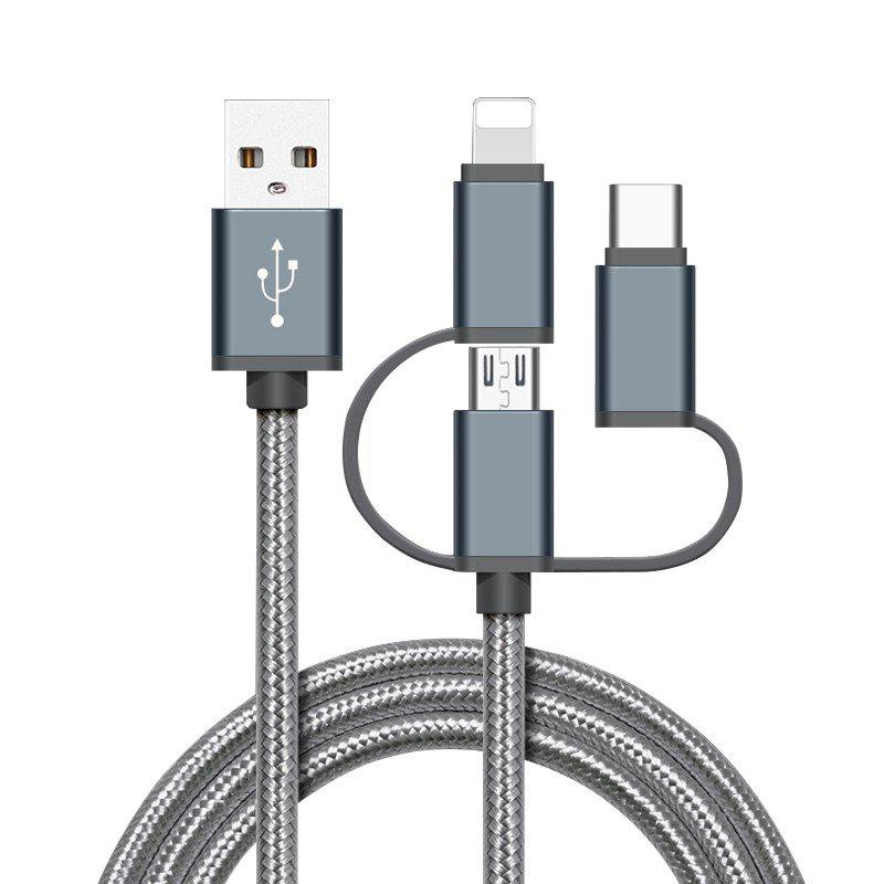 High Speed Nylon Braided Fast Charging 3 in 1 USB Charger Cable for iPhone Android Type C Smartphones