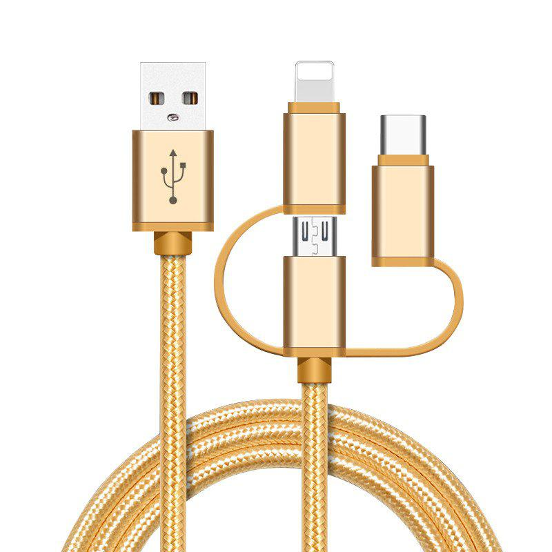 Hot High Speed Nylon Braided Fast Charging 3 in 1 USB Charger Cable for iPhone Android Type C Smartphones