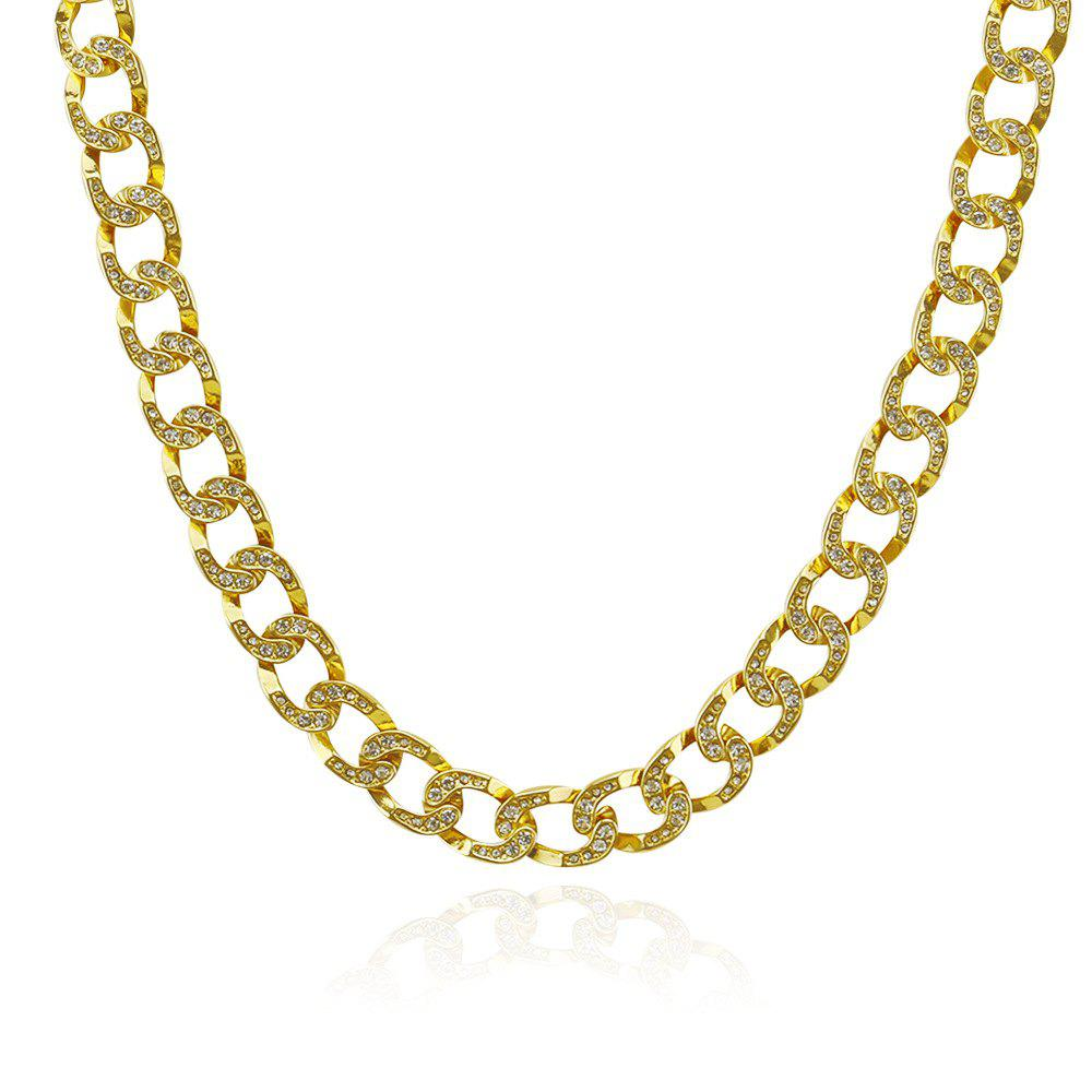 Trendy Exaggerated Cuban Chain Hip Hop Gold Studded Diamond Necklace
